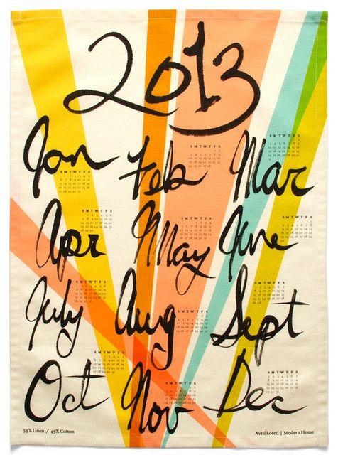 2013 Calendar Towel eclectic dishtowels