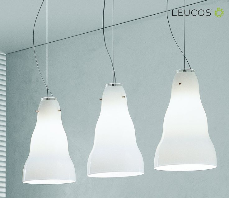 Vivia by Toso, Massari & Associates. Pendant lamps with hand blown glass diffuser available in the following color options: satin white and amber spotted. Metal canopy with nickel plated brushed finish. Optional swag available.  #Vivia #Leucos #Leucoslovablelamps #lamp #suspensionlamp #blownglass