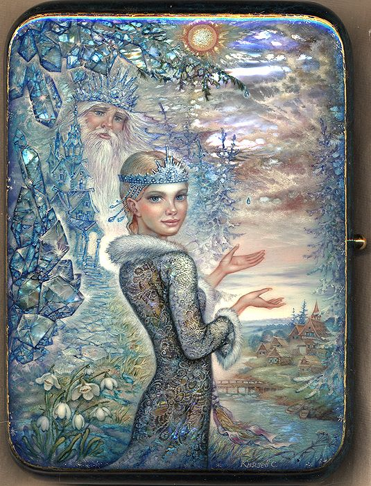 "Sergey Knyazev, ""Snowmaiden"", Russian lacquer box art"