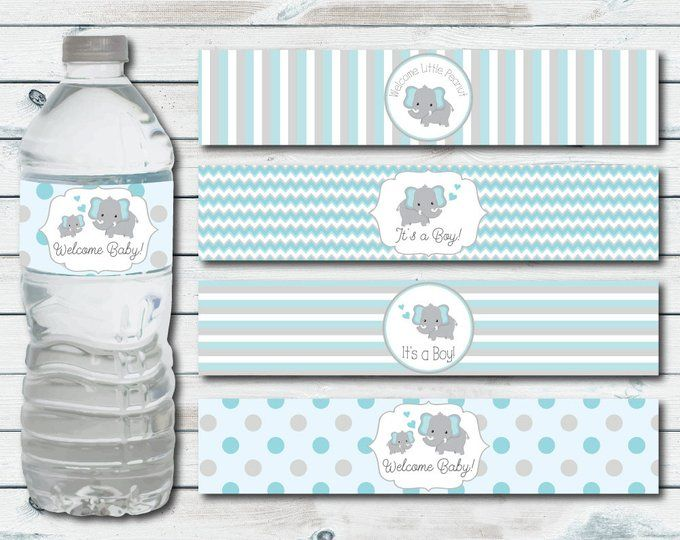 Water Bottle Labels Elephant Baby Shower Printable Water Ducha De Bebé Elefante Imprimibles Baby Shower Etiquetas Baby Shower