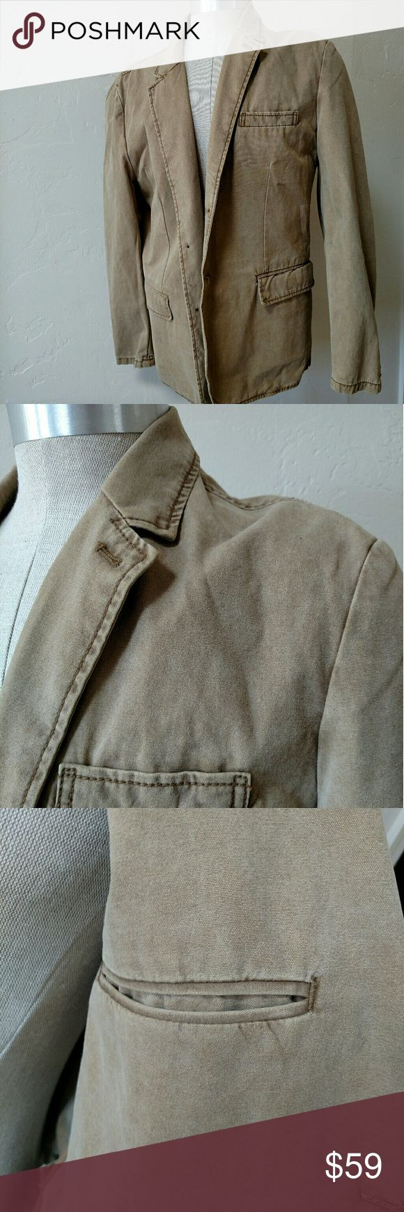 Gap khaki tan safari tan jacket coat Large Used but great condition safari jacket from Gap.  Looks rugged for the trails, just casual for the club.  Smoking club that is!  Tan color, pockets everything (or two outside and one inside if that's what I mean). GAP Jackets & Coats Military & Field