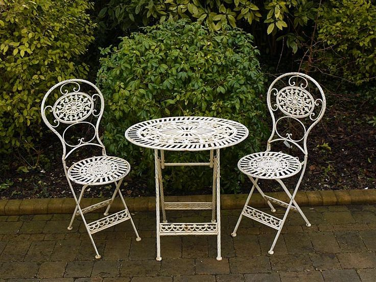 small bistro table and chairs wrought iron white garden patio