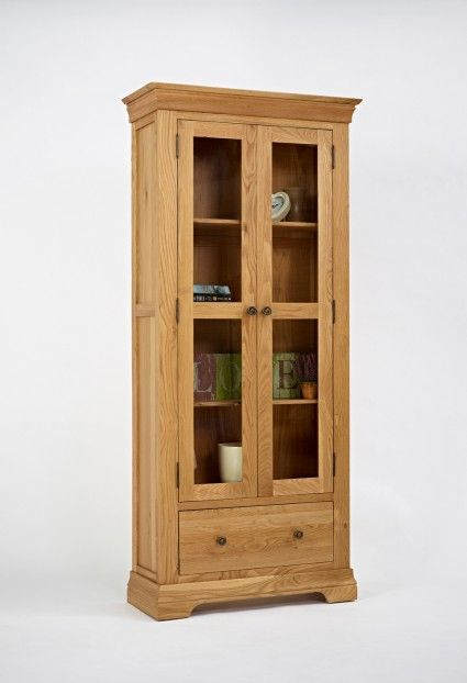 This Oak Large Display Cabinet Is Made Of Solid There One Useful Drawer For Storage With 2 Glass Doors And 4 Shelves Suitable The Kitchen