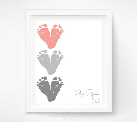 Gift for New Grandma - Baby Footprint Hearts, Dusty Pink, Gray  - First Mothers Day Gift - Personalized Gift New Mom, Grandmother via Etsy