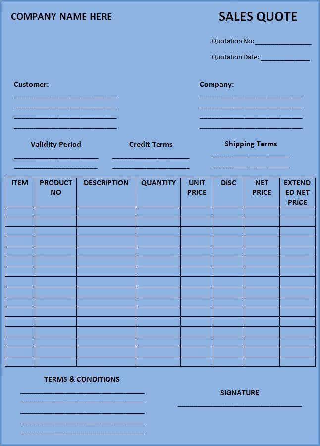 Sales Quotation Form printableform Templates printable free