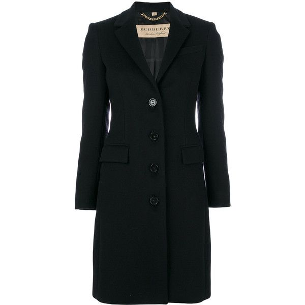 Burberry Sidlesham coat (17 710 SEK) ❤ liked on Polyvore featuring outerwear, coats, jackets, black, burberry, formal coat, lapel coat, burberry coat and long sleeve coat