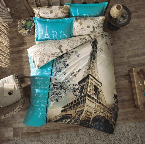 Romantic, yet modern Eiffel Tower/Paris themed bedding set. I love the pillow shams, don't you?