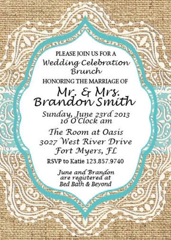 Burlap and Lace Wedding Shower Invitation by SimplyExtravagantInv, $3.00