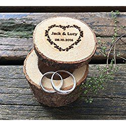Personalized Wood Wedding Ring Box Custom Decor Marriage Decorations Event Party Supplies