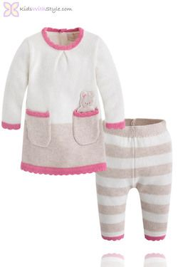 12927e12a36c Baby Girl Knit Sweater and Pants Set