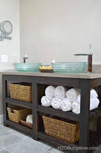 s 11 low cost ways to replace or redo a hideous bathroom vanity, bathroom ideas, painted furniture, plumbing, Drag the ugly one out and build this for 100