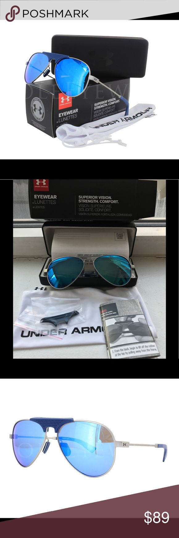 Under Armour Getaway Sunglasses An all-around excellent set of shades.  Made with lenses that shield eyes from UVA, UVB and UVC rays, these aviator sunglasses protect eyes when you need it most. Their adjustable nose and removable brow blade provide a custom fit. Experience comfort, clarity of vision, and protection with the Getaway Sunglasses.  FEATURES: Performance sunglasses Protects eyes from 100 percent of the sun's harmful UVA, UVB and UVC rays  Fit: Medium - Large Lens: 58mm Nose…