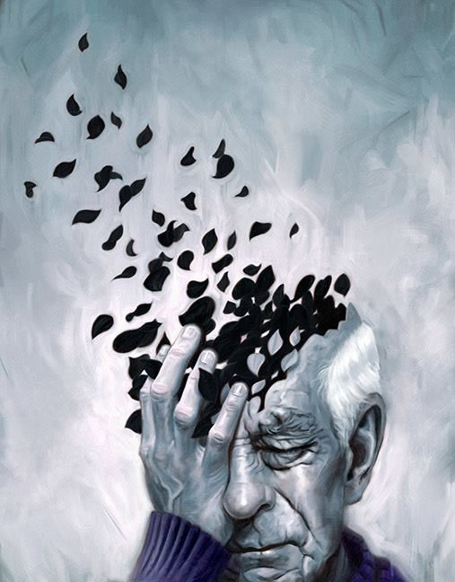 The confusion of the mans mind links to disorder as it looks like his mind is disappearing