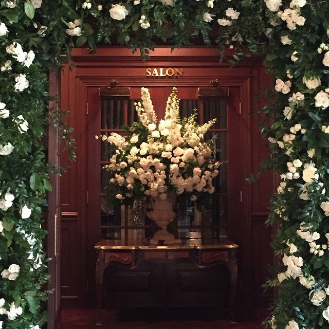 #party#flowers#getaway now this is how you should enter a party- a doorway framed with a bevy of white roses!