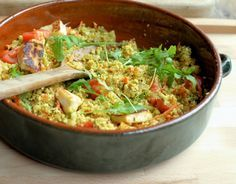 5:2 Diet Spiced Moroccan Cauliflower Couscous - Tabbouleh with Halloumi (56 calories)