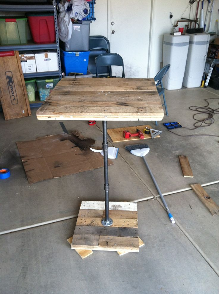 Built this high top table! Pallet wood!