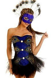3 PC Blue Peacock Feather Costume