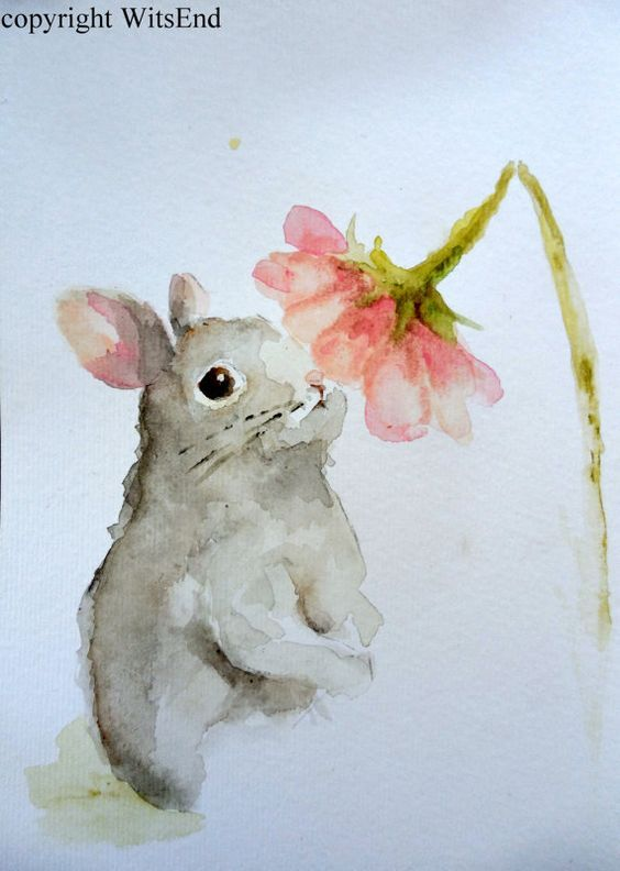 'DAPHNE AND THE DAISY'. Bunny Rabbit painting original watercolor Nursery art by 4WitsEnd, via Etsy: