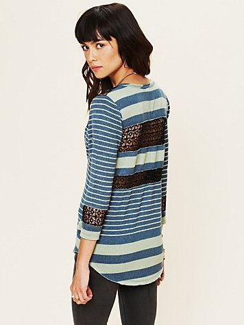 Stripe Crochet Tee  http://www.freepeople.com/whats-new/stripe-and-crochet-tee/