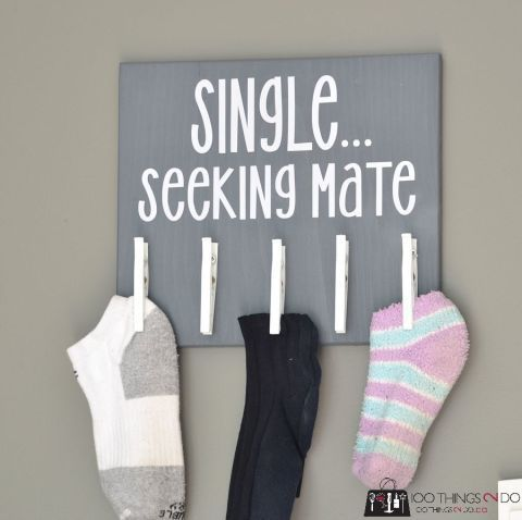 There's nothing a relationship joke about socks can't fix in our book. Plus, this organizer will help you match up the missing mate if or when it does resurface. Click through for more on this and funny organization ideas for your home.