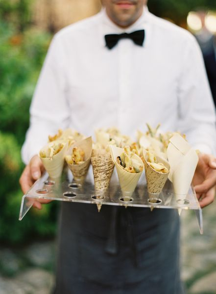 lucite + food cones | jose villa photography via OnceWed Magazine