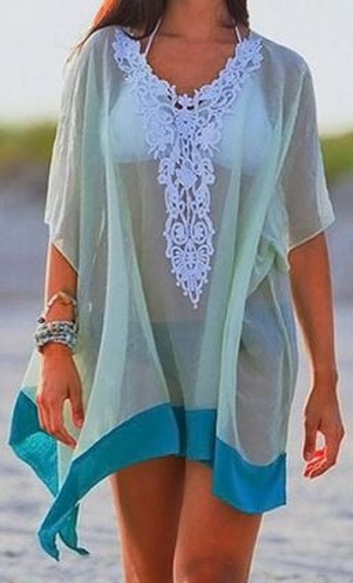 Teal and Mint Green + White Lace Beach CoverUp