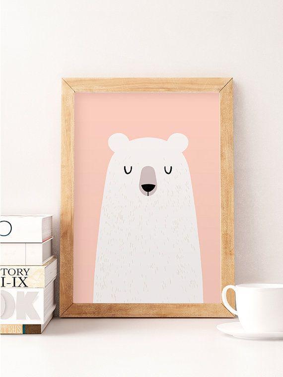 Bear sticker, décoration murale rose, imprimé rose, sticker pépinière, décoration murale mignon, ours blanc, ours blanc décor, décor de chambre de bébé, pépinière imprime