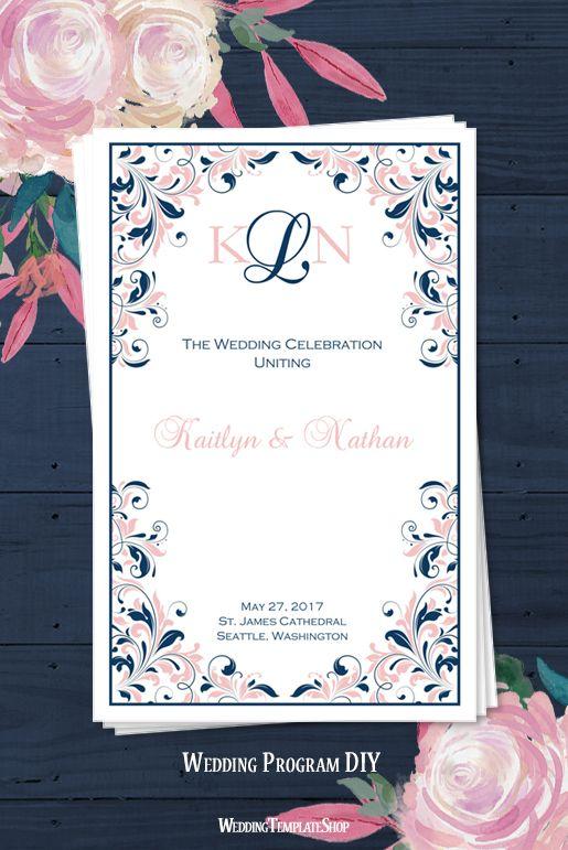 DIY Wedding Program, Blush Pink & Navy Blue Kaitlyn, Printable Order of Service Templates.