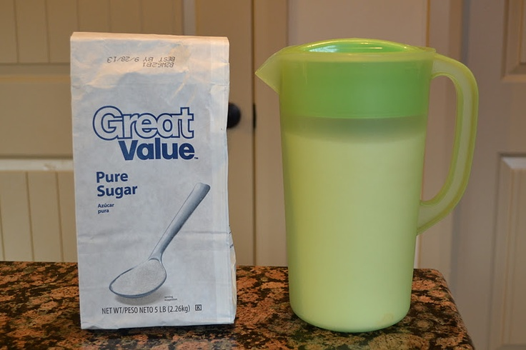 Pour your sugar instead of scoop! Store in pitcher for easy access.  A 5lb bag fits