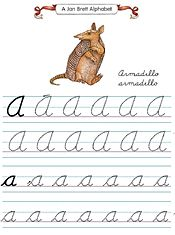 If your homeschooler is learning cursive the Jan Brett printable tracing sheets are ideal for you-