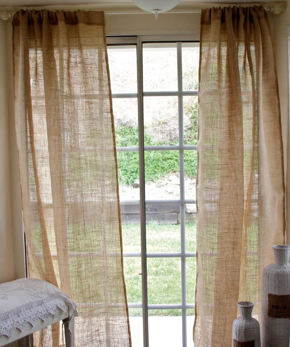 """Pair of Burlap Curtain Panel 40""""x84""""- shabby chic burlap - cottage beach- rustic curtains on Etsy, $90.00"""