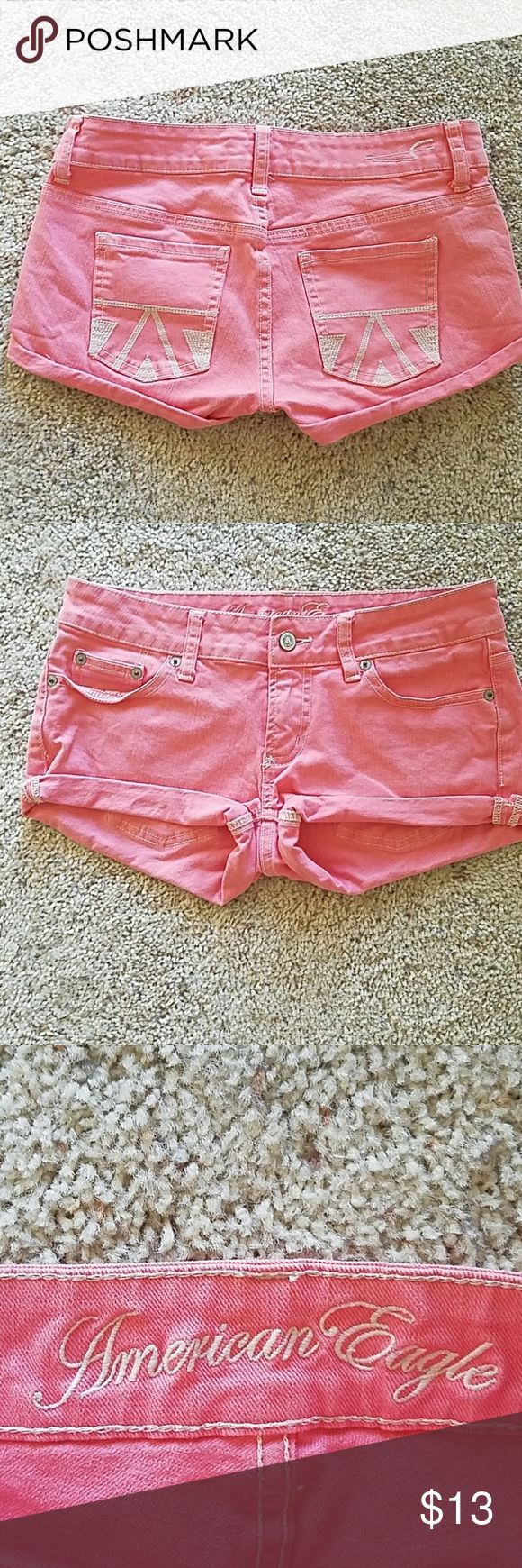 AMERICAN EAGLE  (2) GREAT PAIR OF CORAL JEAN SHORTS IN GREAT CONDITION!!! American Eagle Outfitters Shorts Jean Shorts