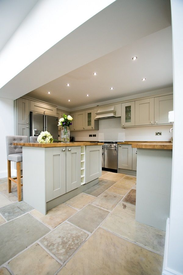 Shaker kitchen fitted with bespoke york stone floor