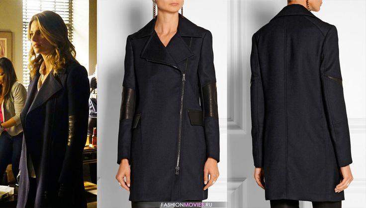 Castle-Katebeckett-Belstaff-Blue-Paxford-Leather-Paneled-Wool-Gabardine-Coat