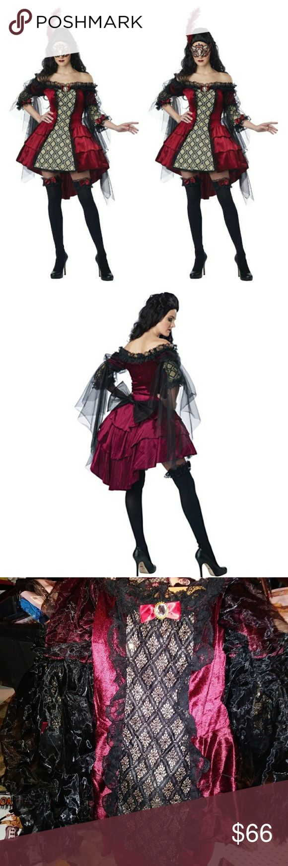 "5 piece masquerade​ renaissance beauty Halloween This mysterious masquerade renaissance babe is sure to draw all the attention at the ball. This costume features a victorian style hi-low dress with detailed drape sleeves, petticoat ,mask with feathers and 2 garters.  Shoes not included. Pit to pit 16 inches. Waist 30 inches. Front length 24"" Back length 35"". Soft stretch fabric,back zipper. S.shop Dresses"