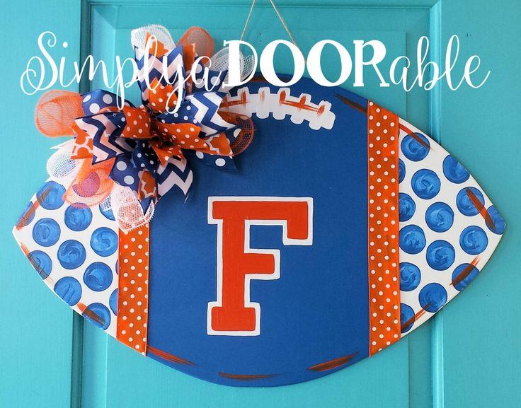 Florida Gators Football Wood Door Hanger by Simply aDOORable! Football Decor, Football Door Hanger, Gators Decor, Florida Gators Wreath by SimplyaDOORableNC on Etsy https://www.etsy.com/listing/468457343/florida-gators-football-wood-door-hanger