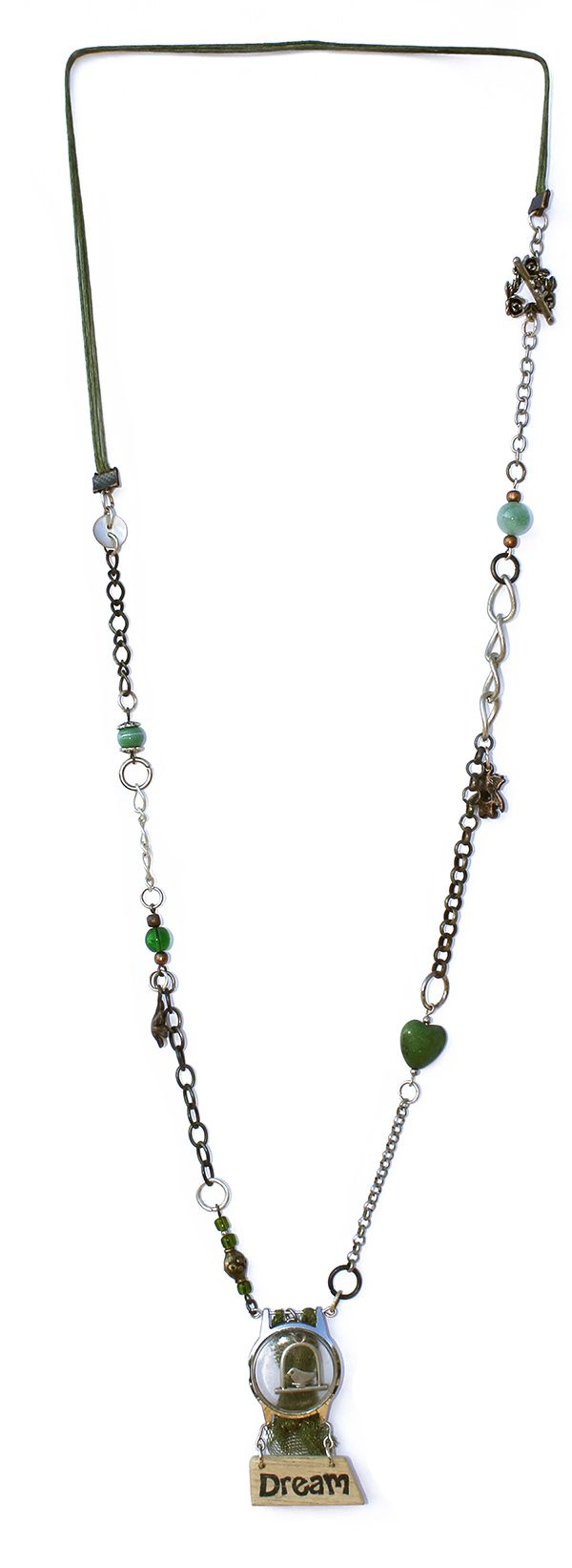 This necklace is handmade from found objects. Each upcycled necklace is a unique, one-of-a-kind, never-to-be-repeated creation.  Made by Dare to Dream, based in the Garden Route of South Africa.  www.handmadeline.co.za