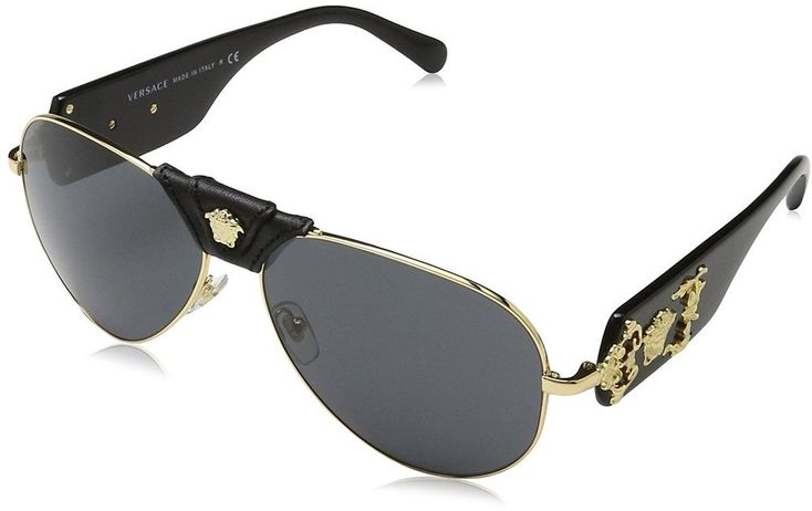 Authentic Official Italy Versace Mens Pilot Gold/Black Aviator Sunglasses 62mm  #Versace