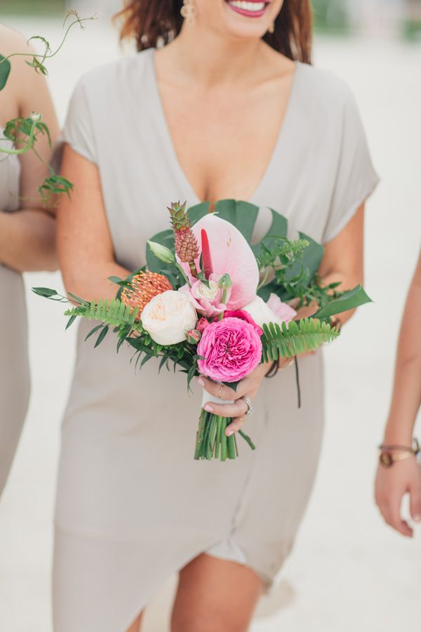 tropical bouquet - photo by Jessica Bordner Photography http://ruffledblog.com/florida-keys-destination-wedding
