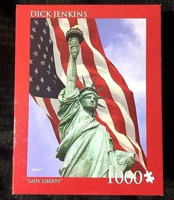 Sealed Puzzle Lady Liberty Statue USA Flag 1000pc Jigsaw 20x27 Dick Jenkins