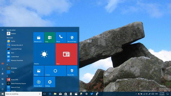 Así luce el nuevo menú de Inicio de Windows 10; llega en agosto para todos