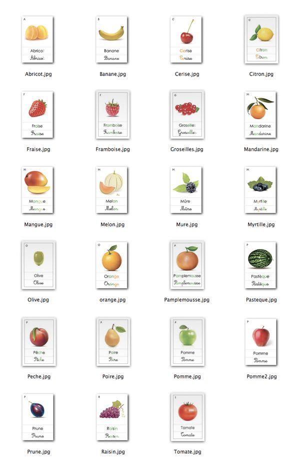 Le Jardin de Kiran - Ressources pour une Nouvelle Education | Fiches de Nomenclature : Les Fruits Communs | http://www.lejardindekiran.com