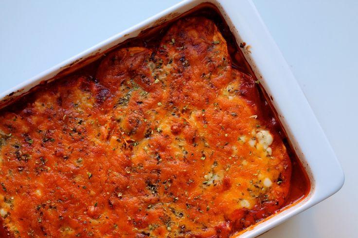 Sød kartoffel lasagne med svampe, hytteost og cheddar | Anna-Mad blog
