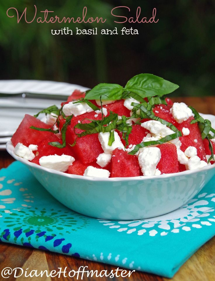 Watermelon Salad Recipe with Basil and Feta. This easy watermelon recipe makes an easy side dish for your next backyard BBQ or a light and tasty lunch recipe!