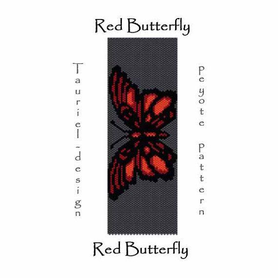Peyote pattern pdf - red butterfly