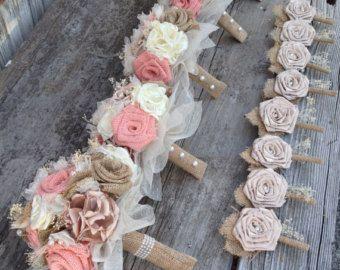 Bouquet da sposa fatto a mano con tela di BurlapandLacePlace