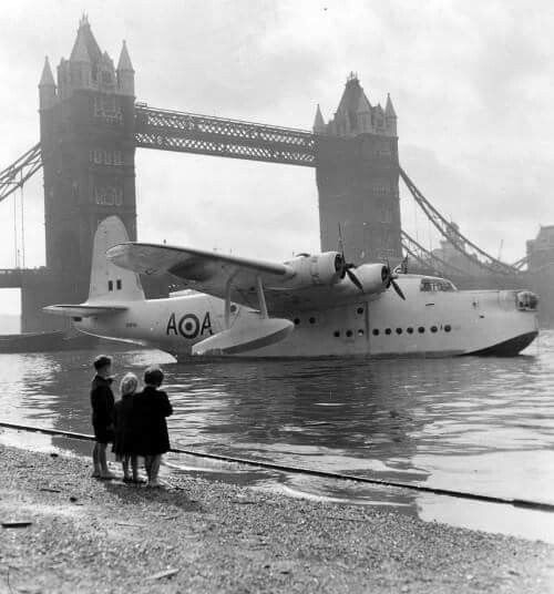 Short Sunderland Mk V of the 201st Squadron RAF moored at Tower Bridge, London 16th September 1956 (during the commemoration of the Battle of Britain)