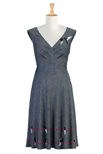 Interesting retro site. Most synthetics, but this all cotton chambray. Some customization, here embroidary can be removed . ALady  Birds eye view dress