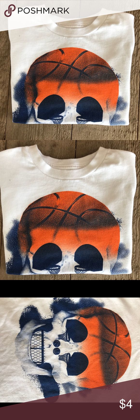 Boys Skull 💀 and basketball 🏀 shirt. Boys shirt with skull and basketball hoops. Used but in great condition. Children's Place Shirts & Tops Tees - Short Sleeve