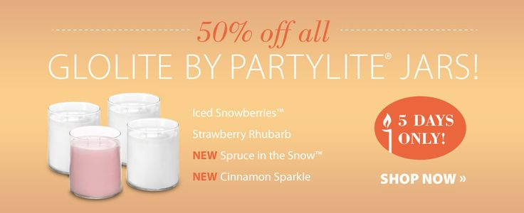 Get 50% off The World's Brightest Candle! ~All GloLite Jars by PartyLite® Candles are now half price for a limited time!  http://www.partylite.biz/legacy/sites/nikkihendrix/productcatalog?page=productgroup&productGroupId=51068&categoryId=57708&showCrumbs=true